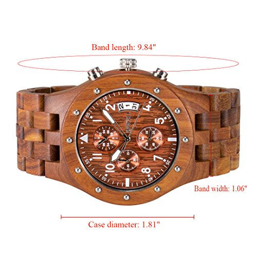 BEWELL Uhren Aus Holz Herrenuhr Chronograph Quarzwerk mit Holzarmband Datum Kalender Stoppuhr Rund Holzkern Uhr (Rot) - 3