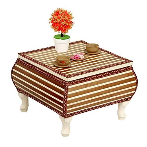 TUYIROE Rattan-Hauptschreibtisch-Kaffeetisch, kann Einzelteile speichern, mit Zwei Sitzen, einfach und langlebig (Größe: 41 * 41 * 30cm) (Color : Brown, Size : 49 * 49 * 30cm)