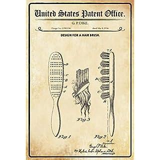 US Patent Bürste Haarbürste Hair Brush 1934 Blechschild Metallschild Schild gewölbt Metal Tin Sign 20 x 30 cm