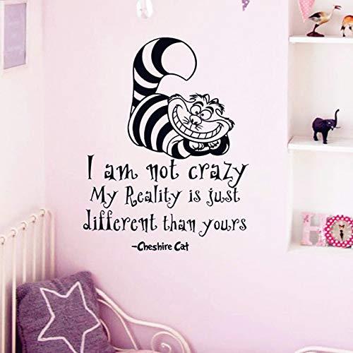 Nkfrjz wall sticker cheshire cat quotazioni i am not crazy vinyl decalcomanie camera wall art decorazione diy home decor 57x76cm
