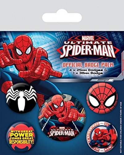 Set: Spider-Man, With Great Power Comes Great Responsibility, 1 X 38mm & 4 X 25mm Badges Badge Pack (6x4 inches) And 1x 1art1 Surprise Sticker