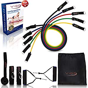 Vigo Sports Resistance Bands Expander Set + PDF Anleitung 2.0 – effektives Home-Workout mit dem Fitnessbänder Widerstandsbänder Set – Widerstandsband für power Krafttraining – Fitnessbänder Set