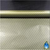 0.5m * 10m transparente Golden de fibra de carbono de impresión de transferencia de agua de película # ht67-s, hidrográficos Película, Hydro Arts hidrográficos Película