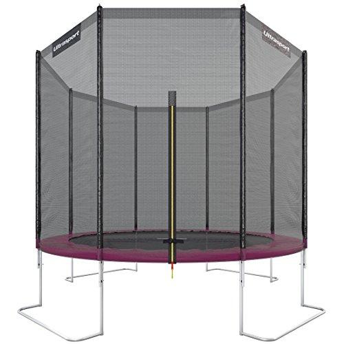Ultrasport Outdoor Gartentrampolin Jumper, Trampolin Komplettset inklusive Sprungmatte, Sicherheitsnetz, gepolsterten Netzpfosten und Randabdeckung, bis zu 160kg, Pink, Ø 305 cm