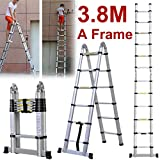 8m (1.9m + 1.9m Telescopic Ladders-Bilderrahmen aus Aluminium, faltbar, ausziehbares, Leiter, Schritte, 12Verlängerung