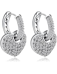 Yellow Chimes A5 Grade Crystals Heart in Hoops Platinum Plated Two Way Silver Crystal Earrings for Women & Girls (White) (YCSWER-407HRT-WH)