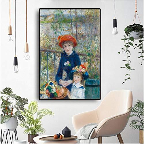 Ölgemälde Zwei Schwestern Auf Der Terrasse Impressionismus Renoir Poster Und Druck Leinwand Kunst Wandbild Für Wohnzimmer-50cmx65cm