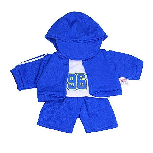 Italily cappello maglietta cappotto pantaloni per 18 pollici la nostra generazione ragazza americana bambola del ragazzo sport 4 pezzi completo da uomo casual vestiti per bambola (blu scuro)