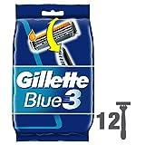 Gillette Blue3 - Pack de 12 Rasoirs Jetables pour Homme