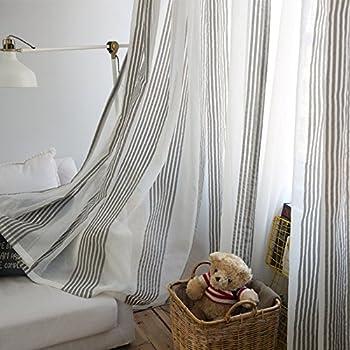 Pueri Rideaux Voilage à Oeillets Voilage Blanc et Gris Voile Fenêtre  Transparent Voilage en Lin Salon Chambre 100*250cm A