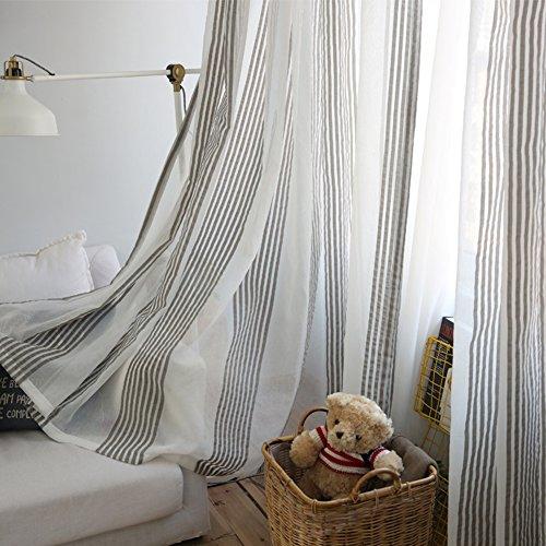 PUERI Rideaux Voilage à Oeillets Voilage Blanc et Gris Voile Fenêtre Transparent Voilage en Lin Salon Chambre 100 * 250cm
