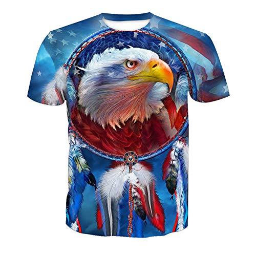 Männer 3D T-Shirt Realistischer Adlerkopf Adler-Totem Fußball Team Uniform Muster Digitaldruck Liebhaber Shirt(L,Bunt) -