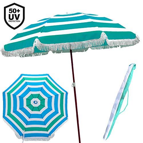BAKAJI Ombrellone da Mare Spiaggia Giardino con Palo in Acciaio Rivestimento Tessuto Anti UV con Tracolla Custodia