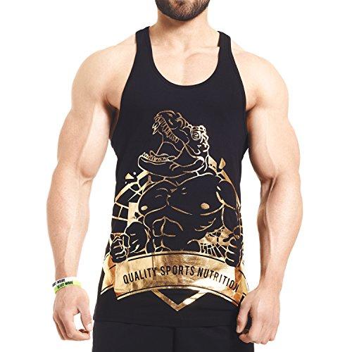 Gym Stringer - Black / Aurum - Tank Top T-Rex - Schwarz / Gold (XL)