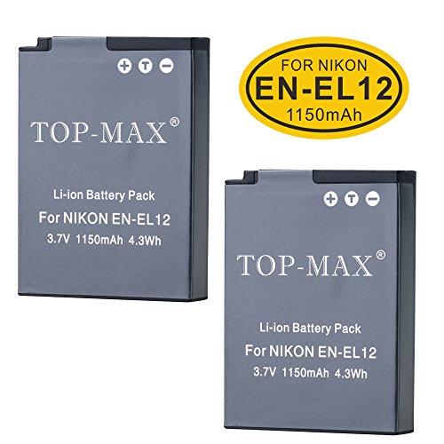 S70 Kamera ((2er Pack) EN-EL12Li-Ion Akku + USB-Ladegerät für Nikon Coolpix P300P310P330P340P3000S31S70S610S620S630S640S800C S1000pj S1100pj S1200pj S6000S6100S6150S6200S6300S8000S8100S8200S9050S9100S9200S9300S9400S9500S9600S9700S9900AW100AW100s AW110AW110s AW120AW120s AW130Digital Kamera)