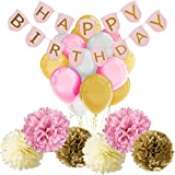 Paxcoo Pink and Gold Happy Birthday Banner with Balloons and Tissue Paper Pom Poms for Party Decorations