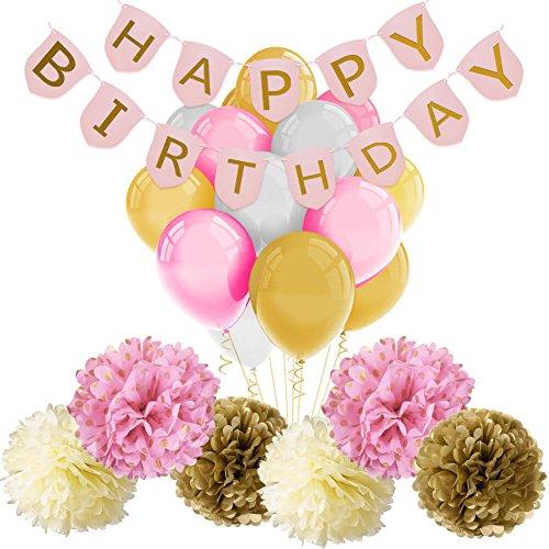 Paxcoo Pink und Gold Happy Birthday Banner mit Ballons und Tissue Papier Pom Poms für Party Dekorationen (Pastell-breit-stuhl)