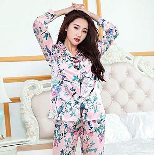 WYLLA Pyjamas Weibliche Herbst Ice Silk Sweet Print Dünnschliff Set Langarm Zweiteilige Simulation Seide Home Service Anzug Größe XL