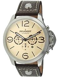Peugeot MK912TBR - Reloj para hombres, correa de cuero color marrón