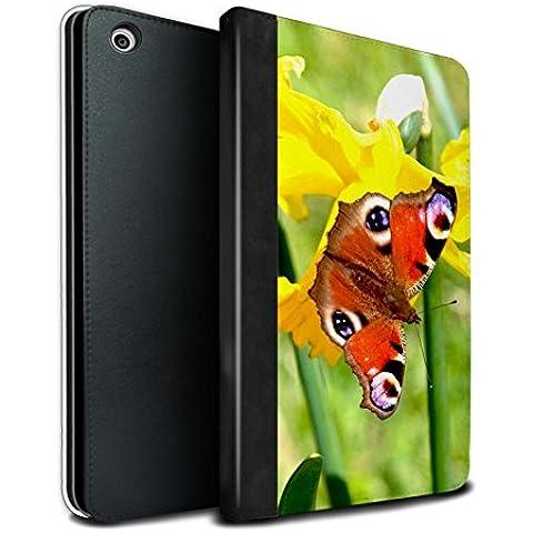 STUFF4 PU Pelle Custodia/Cover/Caso Libro per Apple iPad Mini 1/2/3 tablet / Farfalla / Fiori del giardino floreale disegno