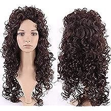 Parrucca Marrone Lunga Riccia Donna Capelli Mossi Sintetici Fashion Full  Wig 66cm per Cosplay Halloween Carnevale 2851b9d4400f
