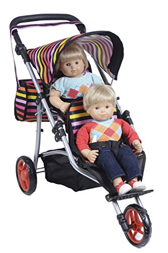 Exquisite Buggy Twin Jogger DOLL Stroller with Diaper Bag