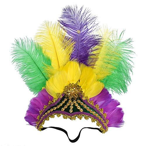 VOLANO GLI UOMINI Copricapo di piume di struzzo mascherato ispirato copricapo di danza delle piume colorato Copricapo di danza Mardi Gras eseguire cerchio di capelli ( Color : 2green/2yellow/Purple )