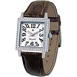 Tellus - Vintage - Luxury Women's watch with white dial, brown strap in Genuine python, Swiss Made - T5067DI-105