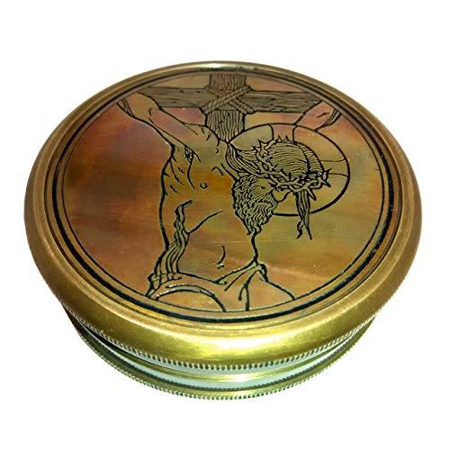 Finder-fall (Die Kreuzigung Christi. WONDERFUL Symbolische Christian Art DIRECTION Finder Kompass Messing mit Leder Präsentation Fall)