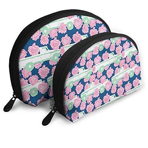 Pink Carnation and A Pick-Up Truck (Navy) Portable Reise-Kosmetiktaschen Organizer Set of 2 for Women Teens Girls (Pickup-and-reach-tool)