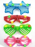 #1: Ziggle Neon LED googles party prop party fun googles specs Return gift (Pack of 4 )