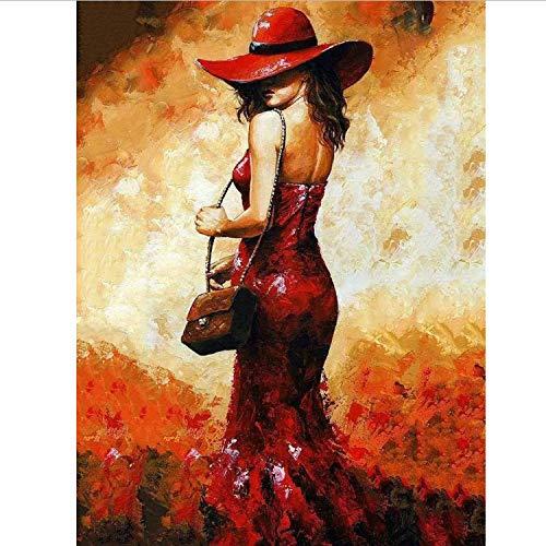 CBUSYS Digitales Malen Nach Zahlen Paket Der Rote Rock Mädchen Ölgemälde Mural Kits Färbung Wandkunst Bild Geschenk Rahmenlose DIY