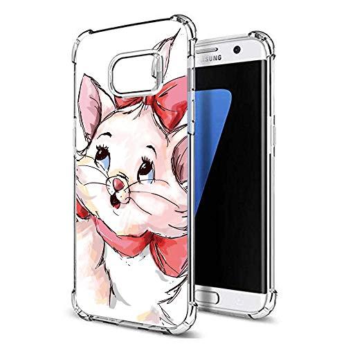 "Zhuofan Plus Coque Samsung Galaxy S7 Edge, Silicone Transparente avec Motif Design Antichoc Coussin d'air Housse TPU Souple Airbag Shockproof Case Cover pour Samsung S7 Edge 5,5"", Chat Rouge"