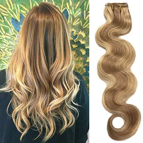 Koobetti Clip in Haarverlängerungen, Body Wave Haarverlängerung, Remy Echthaar, 70g, 7 Stück, No.12/613 Braun Gemischt Mit Blondine, 55cm