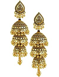 TAZS 3 Layered Golden Jhumka Earrings For Women And Girls