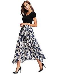 Abollria Jupe Longue Femme Bohème Fleuri Élastique Fluide en Tull Plissée  Imprimé Floral Évasée Été en 053bf69904c