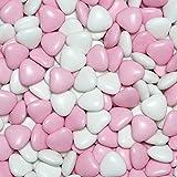 EinsSein Schokoherzen MIX 1kg weiß-rosa gl. Gastgeschenke Hochzeitsmandeln Dragees - 8