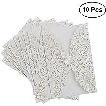 OULII boda invitaciones - 10pcs Vertical láser corte mariposa invitaciones tarjetas Kits para boda nupcial ducha cumpleaños con cinta de papel y sobres (blanco)