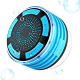 Ultra portátil inalámbrico Bluetooth altavoces de ducha con resistente al agua IPX7, HD sonido y graves, integrado a prueba de polvo Mini micrófono y altavoz manos libres, ventosa, Ducha Radio con radio FM para teléfonos iPhone iPod iPad–Azul
