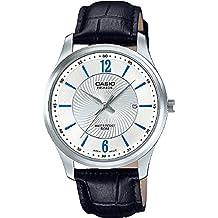 CASIO BEM-151L-7A - Reloj analógico de caballero con Calendario. Acero y Piel