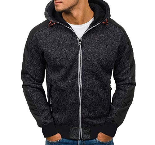 ITISME Herren Pullover Herren Hoody Zipper Slim Hoodies Sweatshirts Pullover Mantel Jacke (x-Large, Schwarz1)