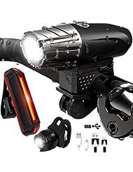 Elgary Luces De Bicicleta, Luz Bicicleta Recargable USB, Linterna Bicicleta Impermeable con 4 Modos, 3 Luz LED Bicicleta para Carretera y Montaña