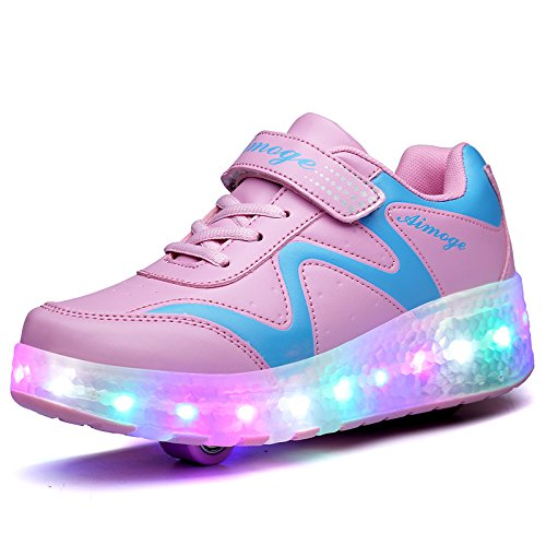 KE1AIP KE Unisex Kids Led Light Wheels Cool Fire Wings Flashing Roller Skates Shoes Trainer Gym Sport Shoes (10 UK / 29 EU, Pink Two Wheels)
