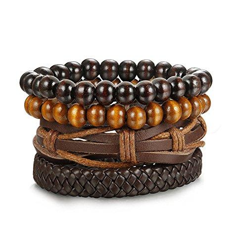 Sailimue 4Pcs Holz Perlen Leder Armbänder für Herren Damen Leder Cuff Armband Elastik