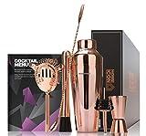 Home Icon Kupfer Cocktailshaker Set mit Trend-Rezepten und luxuriöser Geschenkbox 8pc 750ml -