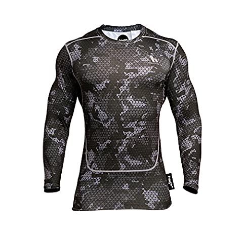 Fringoo Men's Long Sleeve Compression Top Workout Thermal T-Shirt Skin Fit Base Layer Fitness Training Under Shirt Crew Neck (Army Black - Top / X-Large)