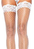 - 51McdhEITBL - Leg Avenue 9201 – Stay Up Fishnet Thigh Highs, Einheitsgröße, Weiß