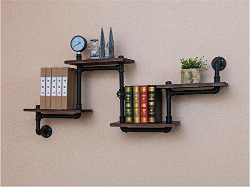 YCRD Bücherregal Regal Vintage Massivholz Wand Partition Winkel Rahmen Eisen Rohr Wandbehang