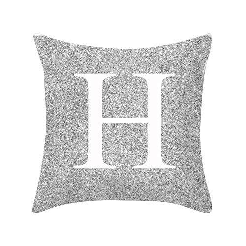 Good01pillow case in metallo argentato lettera peach cashmere, a-z lettere argento metallizzato tiro federa cuscino casa divano letto decor h