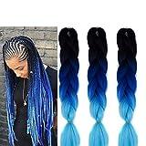 6 Packs Jumbo Flechten Hair Extensions Ombre Blue Colorful Kunsthaar Haar für Heimwerker Crochet Box Zöpfe Ombre 3 Tone Color 100 g/pcs 61 cm (Black-blue)